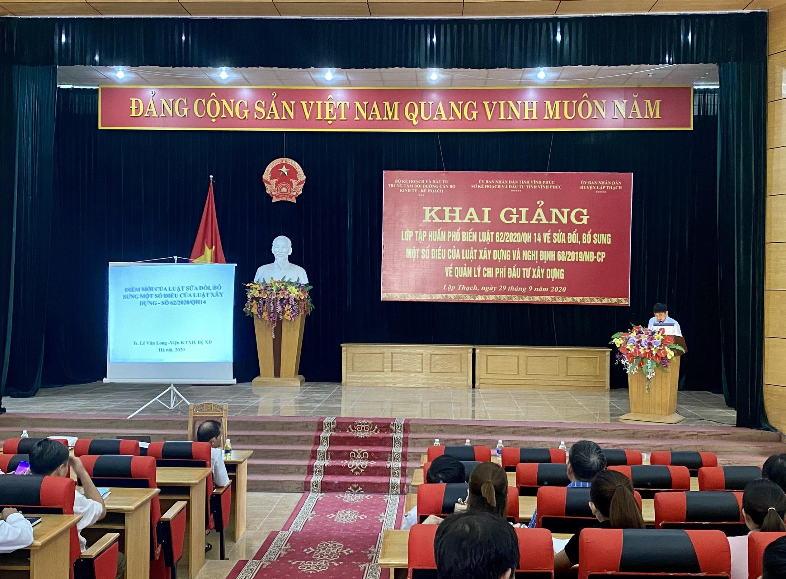 Sở Kế hoạch và Đầu tư tập huấn Luật xây dựng sửa đổi tại huyện Lập Thạch
